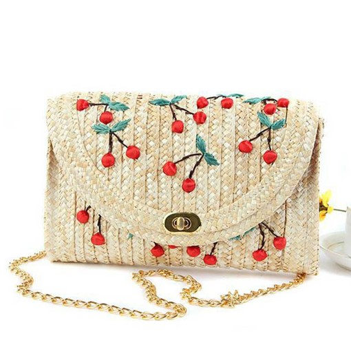 Summer in the Sand Fruit Pattern Women's Straw Bag