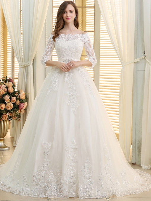 Off the Shoulder Appliques A-Line Wedding Dress