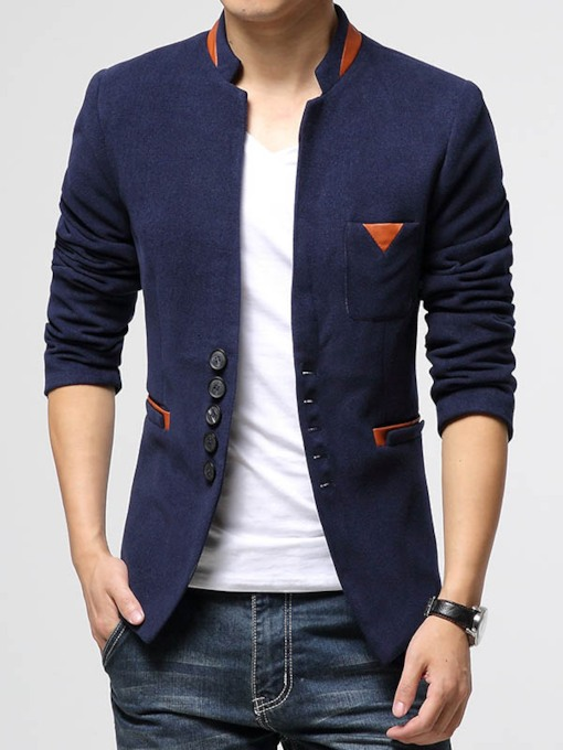 Notched Lapel Slim Korean Plain Men's Coats