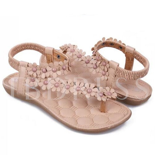 Plain Slip-On Appliques Thong Flat Heel Women's Sandals
