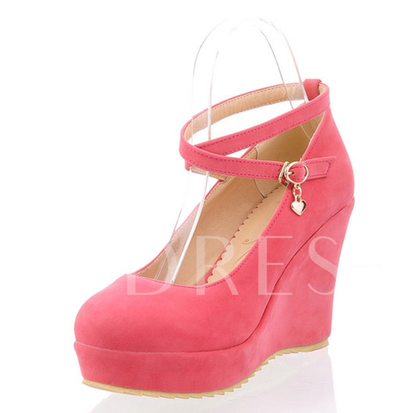 Round Toe Plain Platform Wedge Heel Women's Pumps