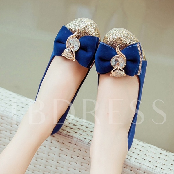 Slip-On Bowtie Chunky Heel Round Toe Women's Pumps