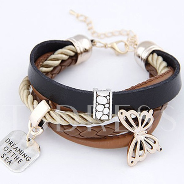 Simple Artificial Leather with Butterfly Women's Bracelet