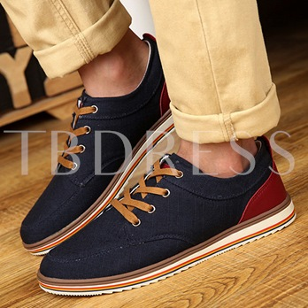 Color Block Flat Heel Cross Strap Men's Canvas