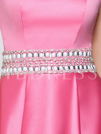 A-Line Sweetheart Beading Crystal Prom Dress