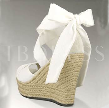Strappy Tie Up Wedge Heel Sandals White Shoes