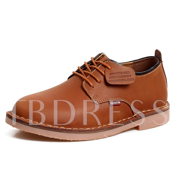 Square Low Heel Round Toe Cross Strap Men's Oxfords