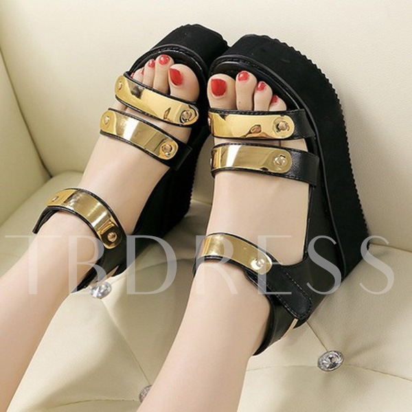 Platform Sequins Velcro Patchwork Women's Sandals