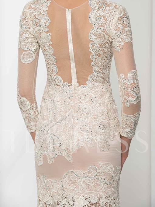 Jewel Neck Mermaid 3/4 Length Sleeves Appliques Beading Lace Evening Dress