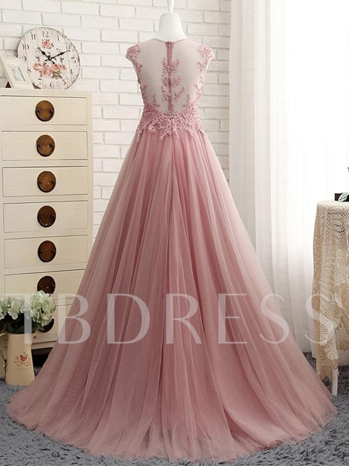 A-Line Pearls Jewel Neck Appliques Sweep Train Evening Dress