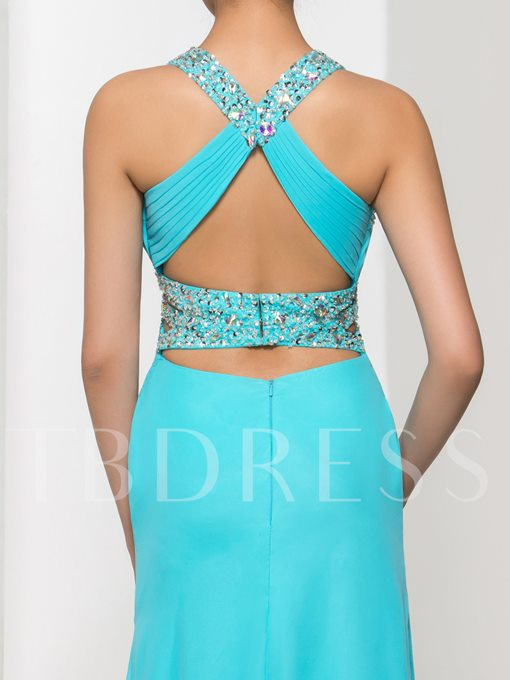 Halter Mermaid Beading Ruched Floor-Length Prom Dress