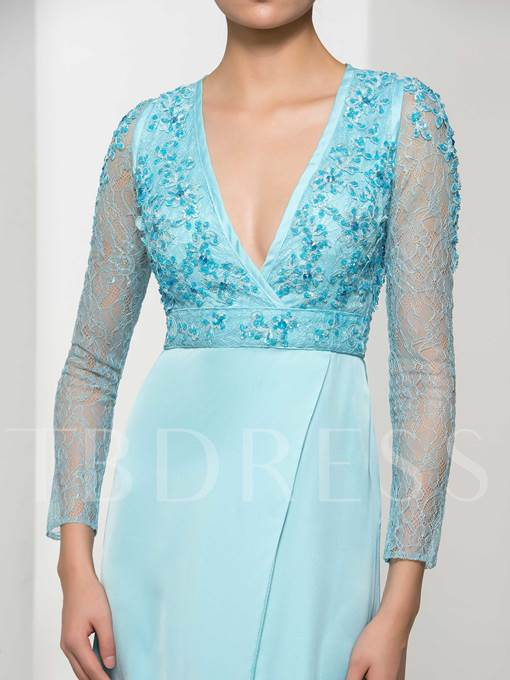Long Sleeves A-Line V-Neck Lace Appliques Beading Evening Dress