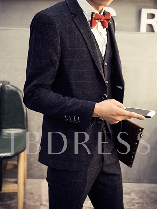 Men's Groom Suits with Large Check