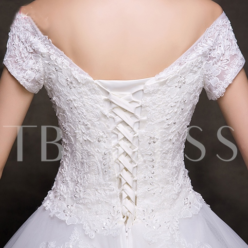 Off-The-Shoulder Appliques Ball Gown Wedding Dess
