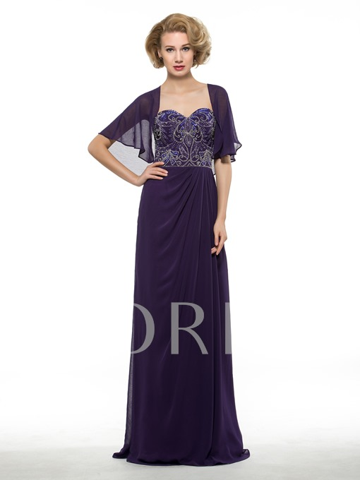 Embroidery Beading Mother of the Bride Dress with Shawl
