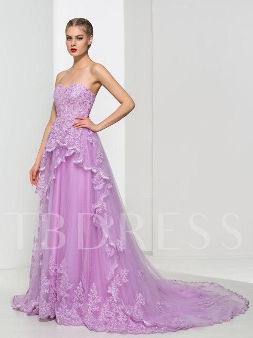 Sweetheart A-Line Lace Court Train Prom Dress