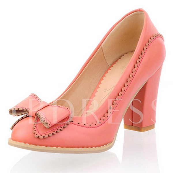Buy Chunky High Heel Slip-On Bowtie Round Toe Women's Pumps, Spring,Summer,Fall, 11654261 for $28.99 in TBDress store