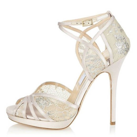 Stiletto Heel Rhinestone Peep Toe Buckle Women's Wedding Shoes