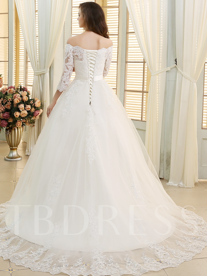 Off the Shoulder Appliques Beading Wedding Dress with Sleeves
