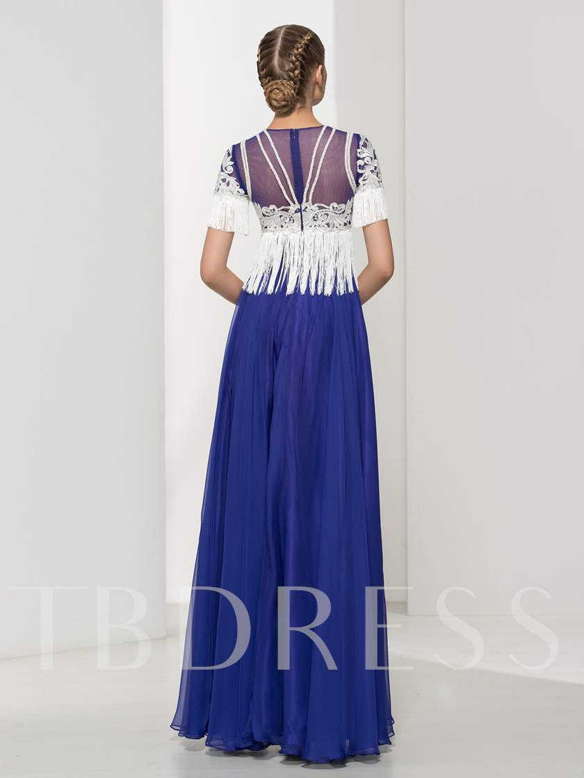 Jewel Neck A-Line Short Sleeves Lace Tassel Evening Dress
