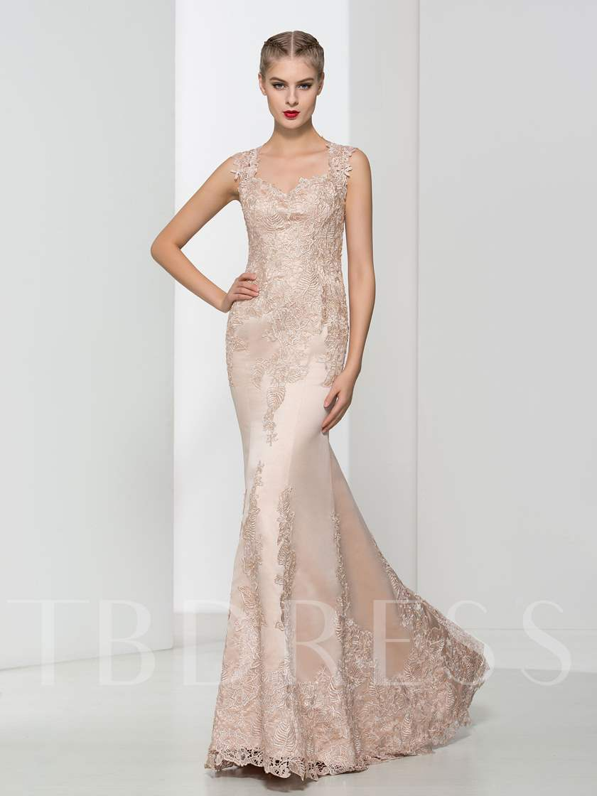 Mermaid Beaded Sweetheart Appliques Lace Evening Dress