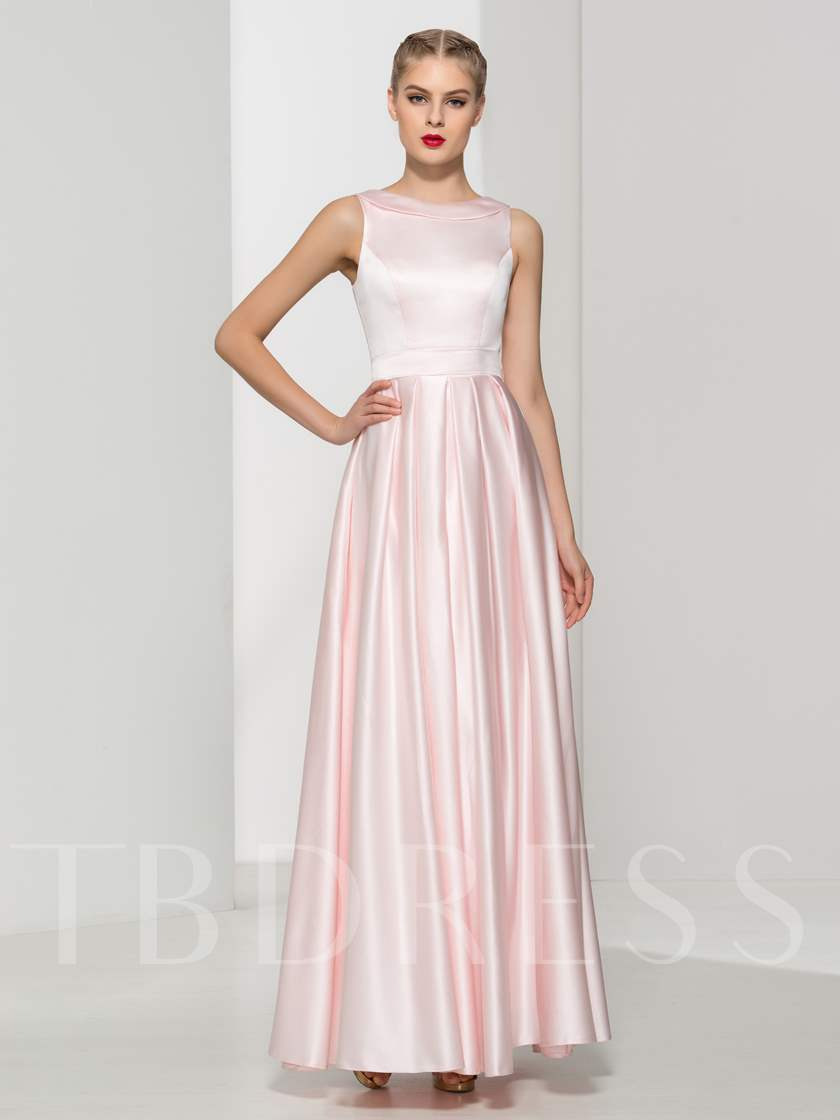A-Line Scoop Neck Pleats Evening Dress