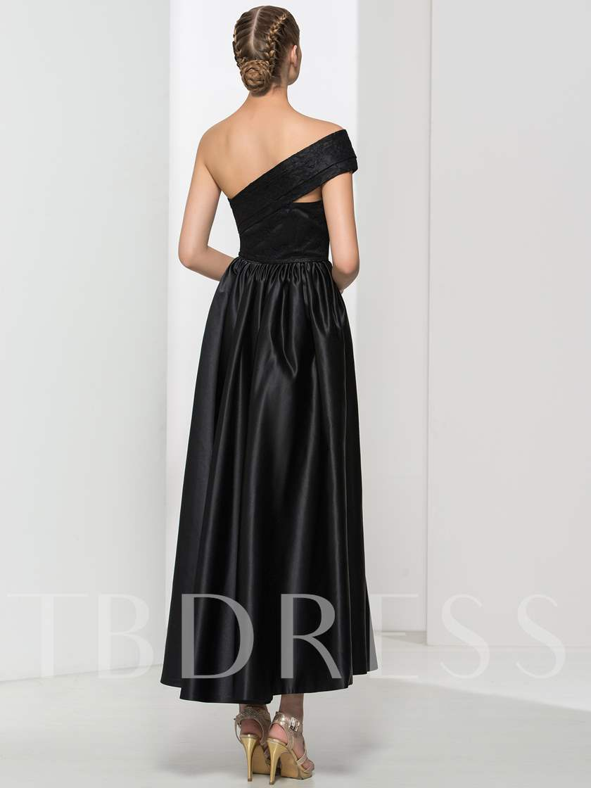 A-Line One-Shoulder Ruched Lace Evening Dress