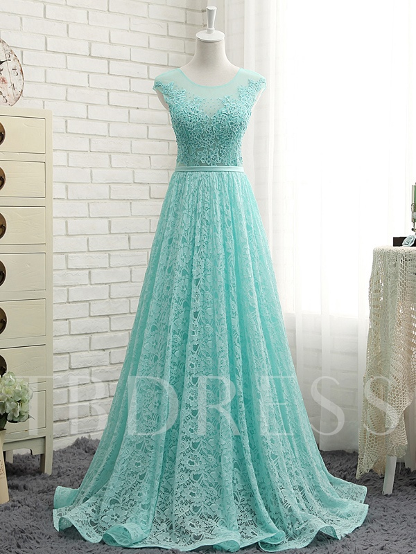 Sashes A-Line Scoop Neck Lace Floor-Length Evening Dress