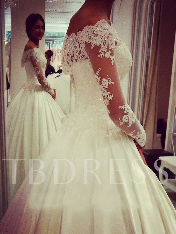 Off-The-Shoulder Long Sleeve Lace Ball Gown Wedding Dress