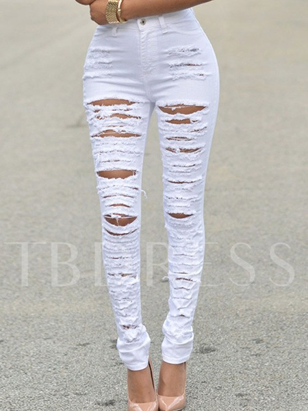 Solid Color Worn-Out Women's Boyfriend Jeans