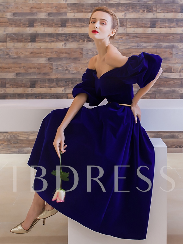 Velvet Short Sleeves Tea-Length Prom Dress