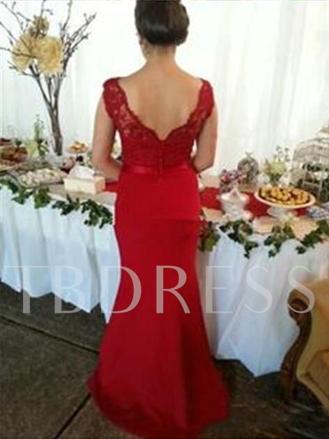 Lace Top Button Mermaid Red Bridesmaid Dress