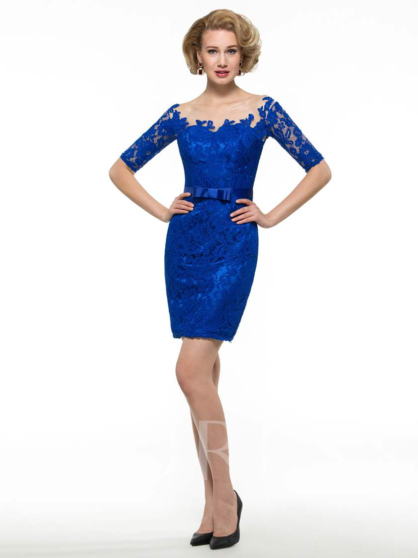 Half Sleeve Lace Bowknot Knee-Length Mother of the Groom Dress