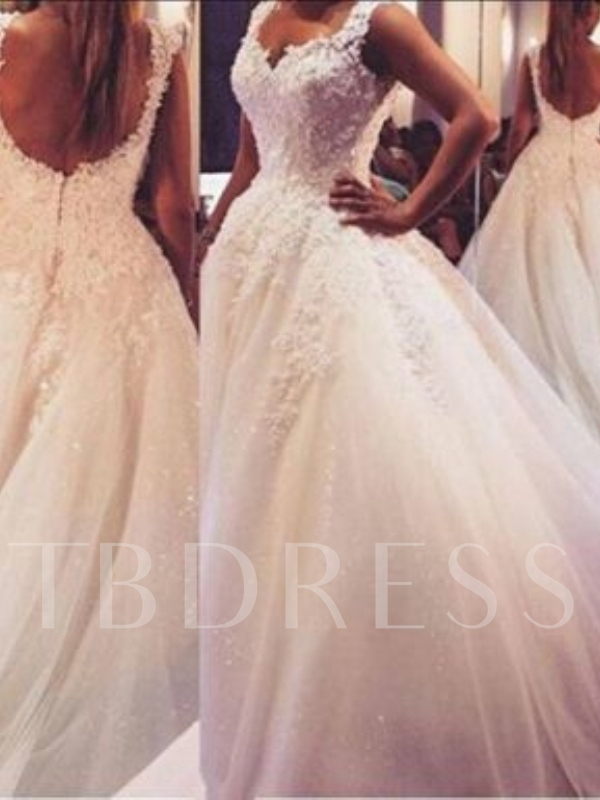 Beading Lace Backless Ball Gown Court Wedding Dress
