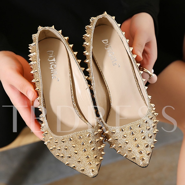Stiletto Heel Slip-On Plain Rivet Pointed Toe Women's Pumps