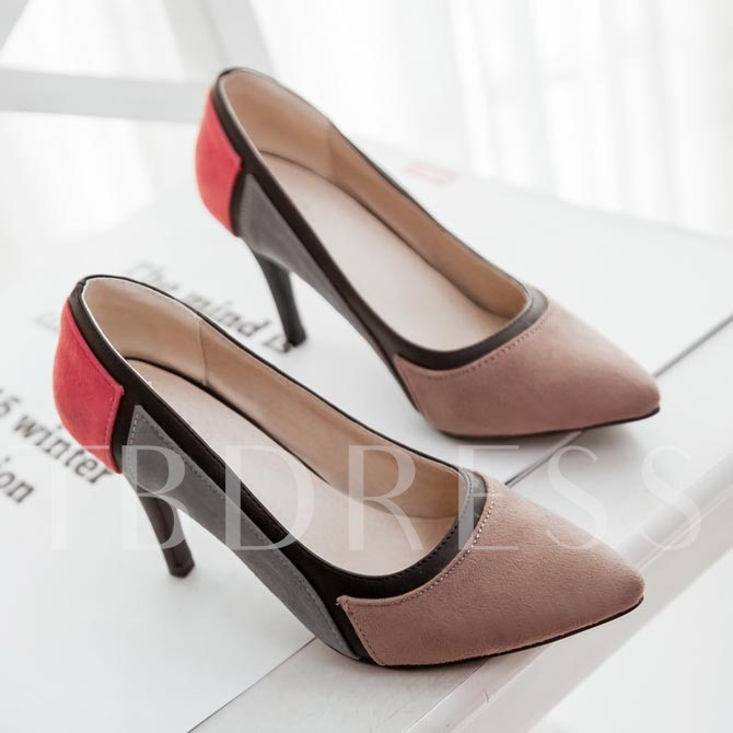 Pointed Toe Slip-On Stiletto Heel Color Block Women's Pumps