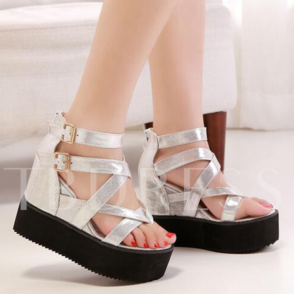 Thong Wedge Heel Zipper Platform Plain Women's Sandals