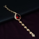 Water Droplets Shape Ruby Gold Alloy Four-Piece Jewelry Set