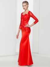Square Neck Sequins Sheath Appliques Floor-Length Evening Dress