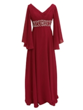 V-Neck Beading Long Sleeves A-Line Mother Of The Bride Dress
