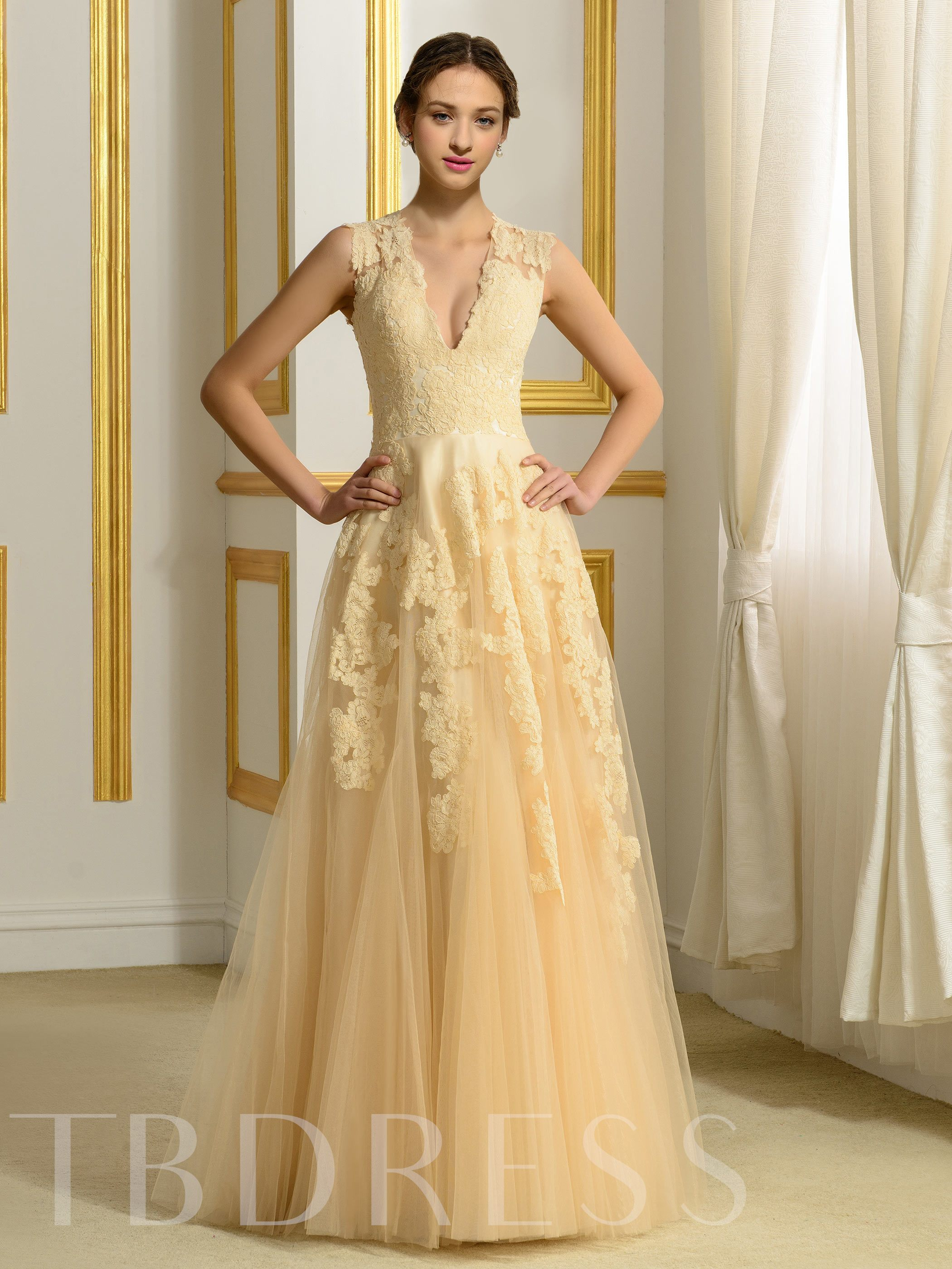 Image of A-Line V-Neck Tulle Appliques Lace Wedding Dress in Color