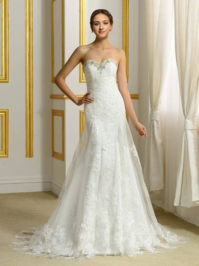 Sweetheart Beading Lace Tulle Trumpet/Mermaid Wedding Dress