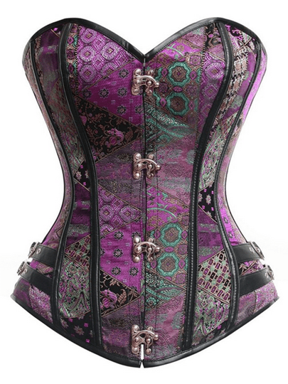 Vintage Buckle Overbust Lace Up Back Corset