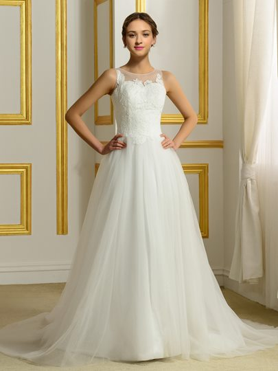 Jewel Neck Appliques A-line Wedding Dress
