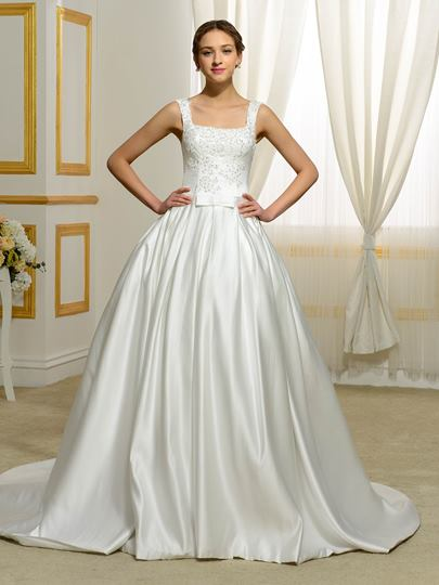Sequre Neck Straps Court Train Wedding Dress