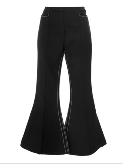 Black Falbala Slim Women's Pants