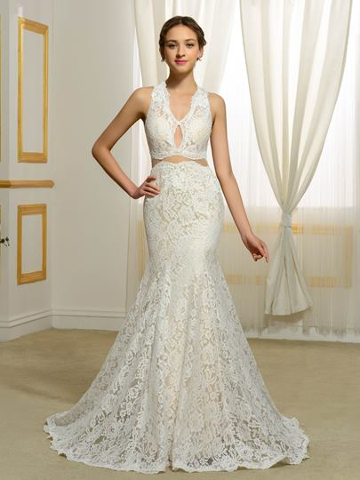 V-Neck Lace Two-Tier Mermaid Wedding Dress
