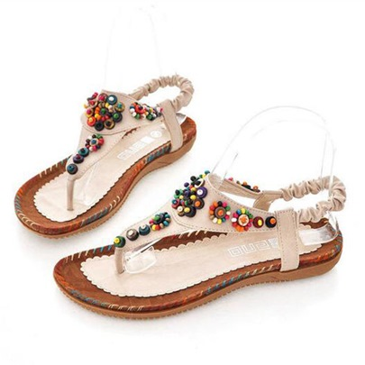 Bead Elastic Band Thong Flat Heel Women's Flat Sandals