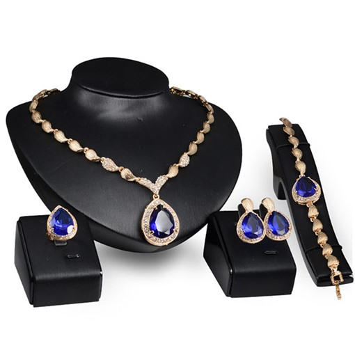 Fashion Gloden with Gemmed 4 Piece Jewelry Set