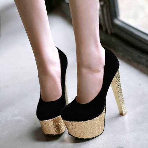Round Toe Slip-On Plain Platform Chunky Heel Women's Pumps